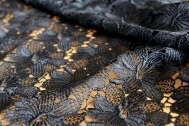 Spitzen-Allover A02 in Schwarz, 65 cm breit - Muster Handmuster