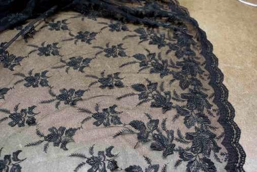 Tüll-Allover T03 in Schwarz, 115 cm breit - Muster