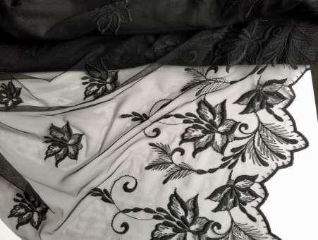 Tüll-Allover T07 in Schwarz, 70 cm breit - Muster Handmuster