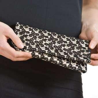 Handtasche Viviana - Schwarz auf Satin Creme