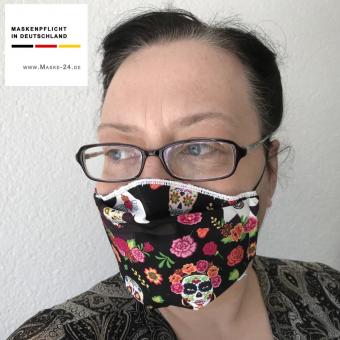 Mundschutz 08-VG - Maske als Mund-Nase-Schutz | mit elast. Schlaufe ums Ohr | farbig mit Totenköpfen