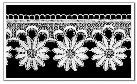 Spitzen-Borte B03, 2 Farben, 12 cm breit Weiß