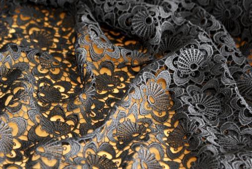 Spitzen-Allover A05 in Schwarz, 70 cm breit
