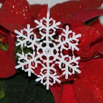 Schneekristall A mit Swarovski® Kristallen - Weiß
