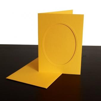 Klappkarte mit Narzisse aus Spitze Gelb - oval