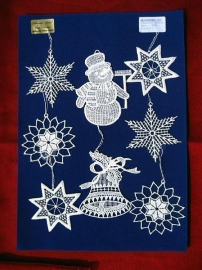 Weihnachtsset 8-teilig auf blauem Velours