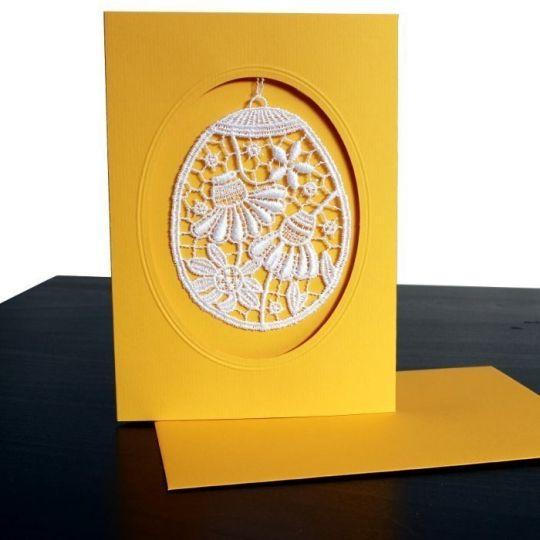 Klappkarte mit Blüten aus Spitze Gelb - oval