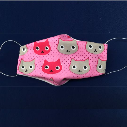 Mundschutz 08-VG - Maske als Mund-Nase-Schutz | mit elast. Schlaufe ums Ohr | farbig mit Katze | auch für Kinder