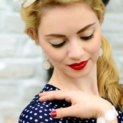 Ohrhänger Audrey - Creme, lang
