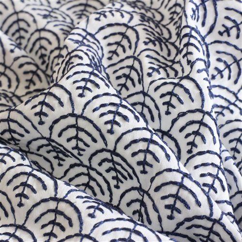 Organic Baumwoll-Seiden-Stickerei Design 69876 - denim