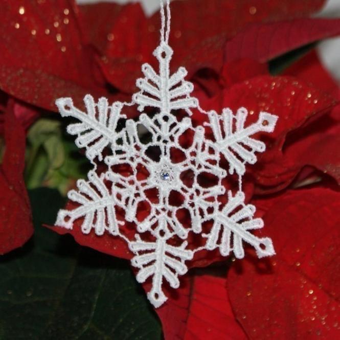 Schneekristall C mit Swarovski® Kristallen - Weiß