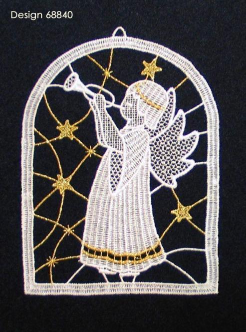 Fensterbild Engel mit Trompete
