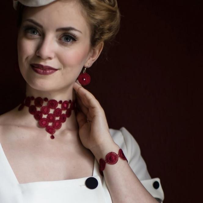 Armband Audrey - Weinrot