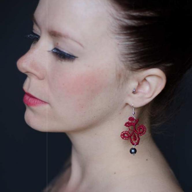Ohrringe Viviana - Weinrot