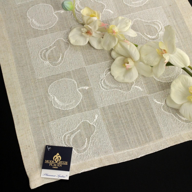 design apfel und birne platzdecke 35x55 vogtlandleinen mit stickerei champagner jetzt kaufen. Black Bedroom Furniture Sets. Home Design Ideas